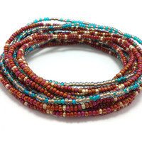 Seed bead wrap stretch bracelets, stacking, beaded, boho anklet, bohemian, stretchy stackable multi strand, maroon, teal blue, copper, gold