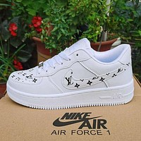 Nike x Louis Vuitton LV white shoes casual trend board shoes men and women air force one shoes-6