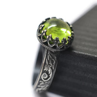 8mm Peridot Ring, Oxidized Silver Ring, Lime Green Gemstone Ring, August Birthstone Jewelry, Floral Band, Engagement Ring