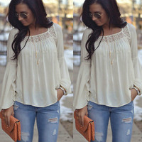 New Women Summer Loose Casual Chiffon Long Sleeve Shirt Tops Shirt Ladies Lace Top