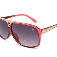 LV Mirrored Flat Lenses Street Fashion Metal Frame Women Sunglasses [2974244754]