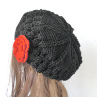 Winter Hand Knit Hat  Beehive beret  in  Black   Womens Hat  Flower  Slouchy Beanie Beret  Fall Autumn  Winter Accessories fashion    French