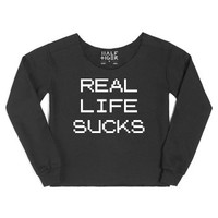 Real Life Sucks-Female Black Hoodie