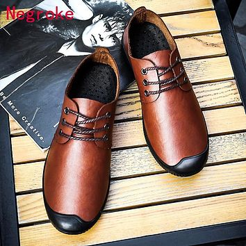 New Men Shoes PU Leather Casual Flat Shoes Men Loafers Moccasins Male Autumn Casual Single Shoes Black Driving Footwear