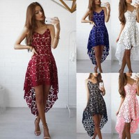 Women's Summer Dresses Sexy Backless Floral White Red Lace Dress