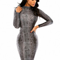 Fashion Romantic Long Sleeve Spandex Polyester round neck Print Skinny Bodycon Dresses #LR190