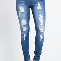 Faded Destroyed Skinny Fit Jeans
