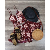 FINAL SALE - Reverse - Burgundy Floral Two Piece Set with Ruffle Hem