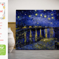 Starry night over the Rhone Vincent van Gogh Canvas Print Reproduction FREE SHIPPING fine art gallery print Artwork Giclee decor wall art