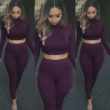Casual Hot Sale Sexy Stylish Long Sleeve Crop Top Set [22465871898]