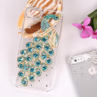 3D Luxury Golden Peacock Clear Skin Back Case Cover for Iphone 5/5G