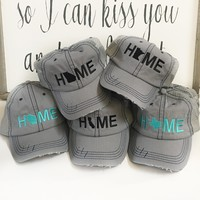 Texas Home hat, Grey trucker hat | Texas State Hat - Teal Hat