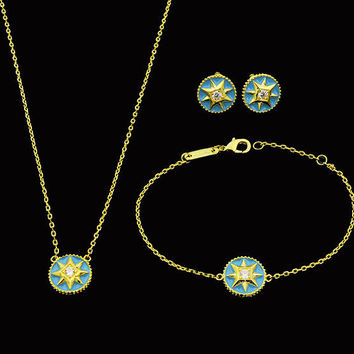BeadyBoutique Lucky Star Jewelry Collection 3 Piece Set - Blue