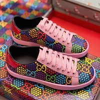 Gucci Spring and summer 2020 new women's shoes jumping sugar pink casual shoes