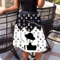 LV Louis Vuitton New fashion monogram print women skirt Black
