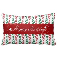 Merry Christmas with Red and Green Tree Pattern Throw Pillow