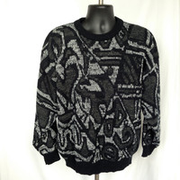 1980s Men's Abstract Geometric Acrylic Sweater / size L Large
