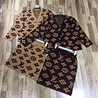 LV Louis Vuitton Women Fashion Cardigan Long Sleeve Top Skirt Two-Piece
