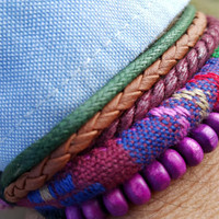 FREE SHIPPING-Men, Woman Bracelet, Multi Color and Strands. Handmade handknotted Hemp Style Country Jewelry, Unisex. 631