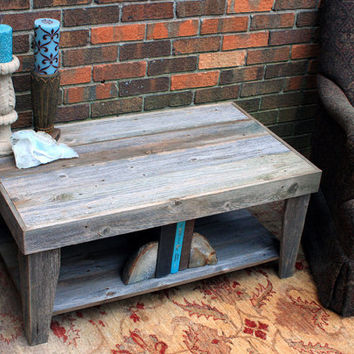 Rustic Coffee Table with Shelf Reclaimed by natureinspiredcrafts