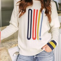 White Striped Print Oversize Round Neck Casual Pullover Sweater