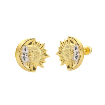 10k Gold Sun Moon Eclipse Stud Earrings with Screwbacks Two Tone