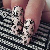 Nail Decals - Marijuana Pot Leaf Pattern Waterslide Decal - Nail Art Accessories