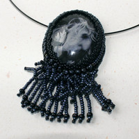 Horse necklace with fringe, bead embroidery, black hematite, gray horse print, horse head, gift for horse lover