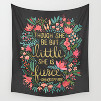 Little & Fierce on Charcoal Wall Tapestry by Cat Coquillette