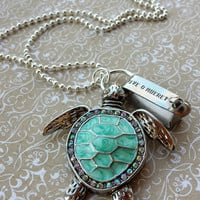 A Tagged Turtle. Steel Sea Turtle Tag and Enamel and Rhinestone Accented Sea Turtle on Silver Plated Ball Chain