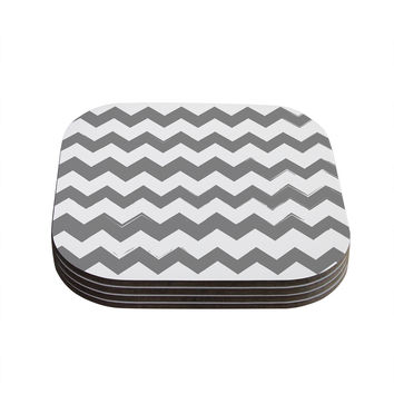 "KESS Original ""Candy Cane Gray"" Chevron Coasters (Set of 4)"