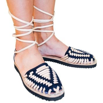 Women's Navy Gladiator Woven Leather Huarache Sandals