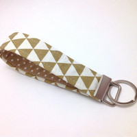 Key Fob. Fabric Key Fob. Brown key Fob. Key chain Wristlet. Fabric Wristlet. Fabric Strap. Key Holder.