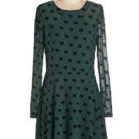 Sugarhill Boutique Cats Mid-length Long Sleeve A-line Miss Whiskers Dress