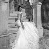 Beautiful Long Elegant Lace Cap Capped Sleeve Mermaid Wedding Dress Gown With V-Neck Closed Back & Court Train
