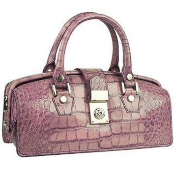 L.A.P.A. Designer Handbags Lilac Croco-embossed Mini Doctor Style Bag