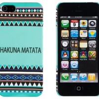 Hakuna Matata Mint Aztec Pattern Embossed Slim Fit Hard Case for Apple iPhone 5S / 5 (AT&T, Verizon, Sprint, International) - Includes DandyCase Keychain Screen Cleaner [Retail Packaging by DandyCase]