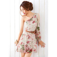 Apricot Floral One Shoulder Chiffon Dress