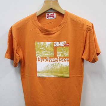 ON SALES 15% Vintage 90s BUDWEISER This Bud's For You King Of Beer Tee T shirt