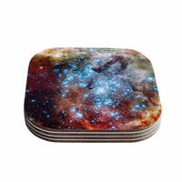 """Suzanne Carter """"Star Cluster"""" Blue Space Coasters (Set of 4)"""