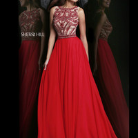 High Neckline Bodice Sherri Hill Formal Prom Dress 11146