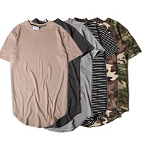 2017 Summer Striped Curved Hem Camouflage T-shirt Men Longline Extended Camo Hip Hop Tshirts Urban Kpop Tee Shirts Mens Clothes