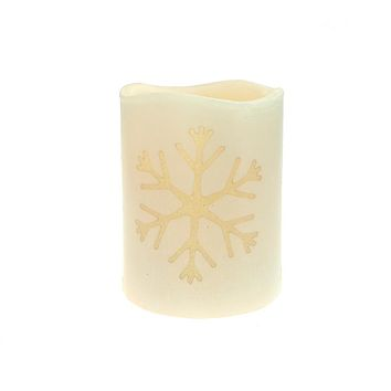 Flameless Essence Glow Snowflake LED Christmas Candle with Built-In Timer, Ivory, 3-1/2-Inch