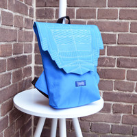 Backpack light blue hipster backpack rucksack cycling bag everyday small mini backpack Zurichtoren geometric simple minimalist backpack bag