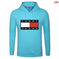 Tommy Fashion New Bust Letter Print Couple Solid Color Leisure Hooded Long Sleeve Sweater Top 10#