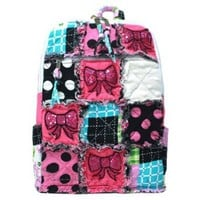 Girls Sequin Cheer Bows Patchwork Polka Dot Small Backpack Purse (black/multi)