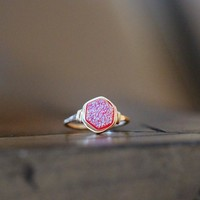 Hexagon Druzy Ring - Sweet Pea