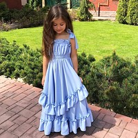 Flower Girl Bow Princess Dress Kid Party Pageant Wedding Bridesmaid Tutu Dresses Bohemian Sleeveless Blue 3-10Y