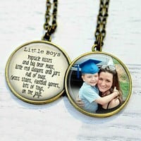 Mother's Day Photo Necklace Mother Son Jewelry