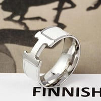 Hermes H ring titanium steel does not fade all-match ring